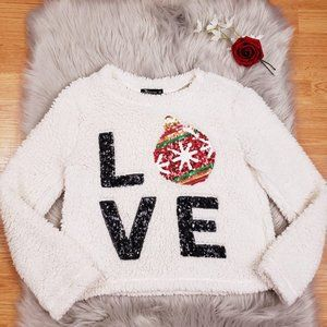 Miss Chievous White Sherpa Christmas Sweater  Love